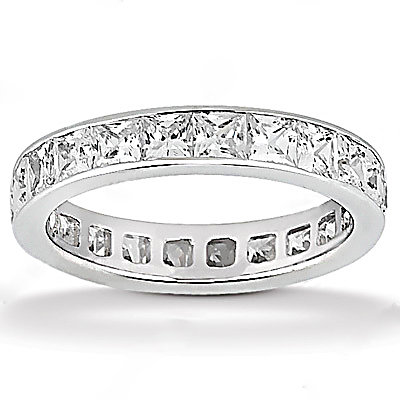Diamonds F VS1 eternity wedding band 13.20 cts. gold