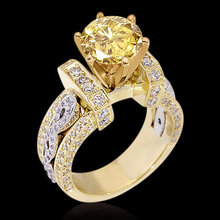 4.01 carat yellow canary diamonds engagement ring gold