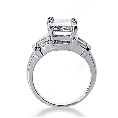 Emerald cut diamonds ring 3.51 Ct. diamonds gold ring