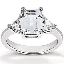 BIG RING 3.51 Ct. diamonds & gold emerald cut WEDDING
