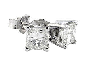 F VS1 princess cut diamond stud earrings 3.51 ct. gold