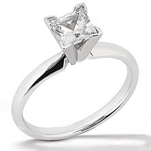 White gold solitaire princess cut DIAMOND RING 2.51 ct.