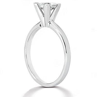 White gold solitaire princess cut DIAMOND RING 2.51 ct.