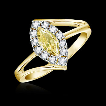 Yellow canary marquise diamonds ring 1.76 carats gold