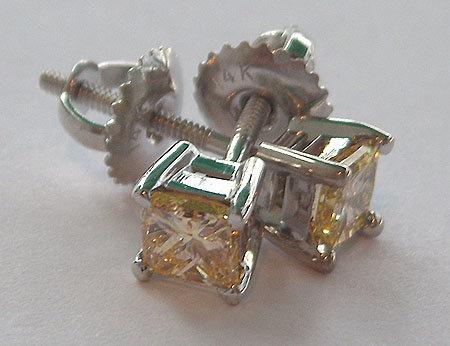1.01 carat YELLOW CANARY DIAMOND stud earrings princess