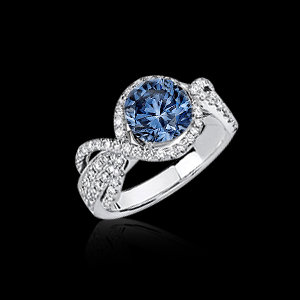 3.15 carat blue white diamond engagement ring gold