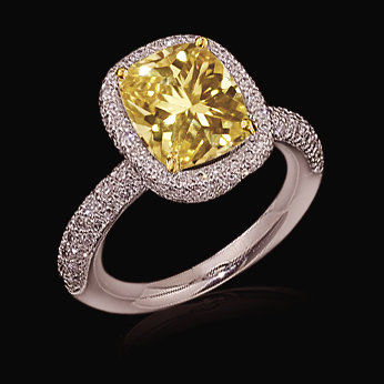 Cushion cut yellow diamonds engagement ring 4 carats