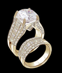 5.01 ct. diamonds engagement ring band set gold new