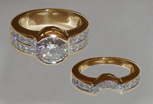 6.5 ct. diamonds engagement ring & band set yellow gold