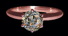 Old mine cut diamond solitaire ring pink gold 2.51 cts.