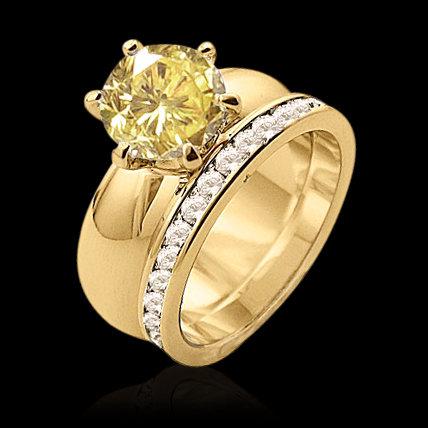 4 ct. fancy yellow diamonds engagement ring band set