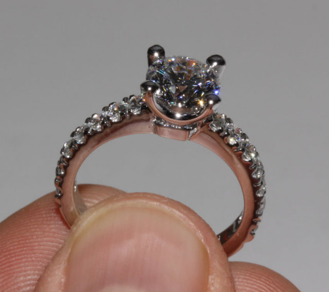 2.40 Ct. WHITE GOLD diamond engagement ring accents