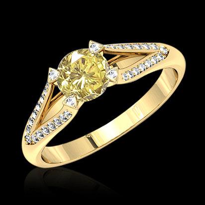 Yellow canary diamonds engagement ring 2.51 ct. diamond