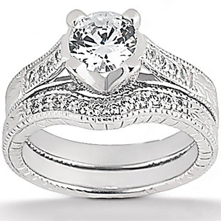 1.77 cts diamond wedding ring white gold F VS1 diamonds