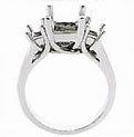 DIAMOND engagement RING PLATINUM PRINCESS CUT 3 STONE