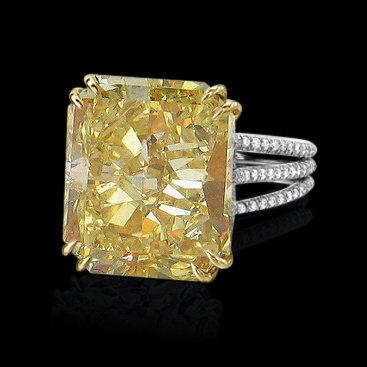4.50 carat radiant cut yellow canary diamonds ring gold