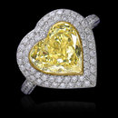 5 ct. Heart cut yellow canary diamonds anniversary ring