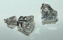 6 carat diamond stud earrings big diamonds large F VS1