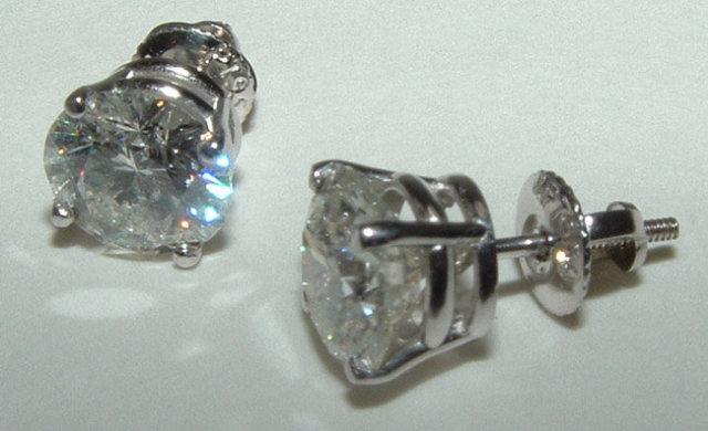6 carat diamond stud earrings big diamonds large F VS1