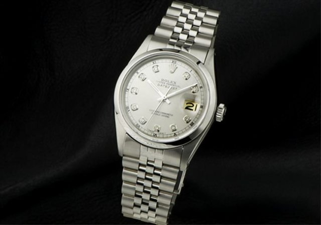 Rolex DATE JUST stainless steel diamond dial SS watch