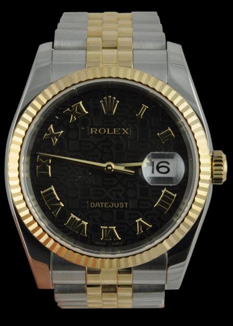 Rolex two tone datejust mens watch black roman dial man