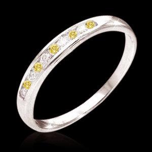 0.50 carat natural yellow canary white diamonds band
