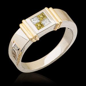 1 ct yellow canary princess diamonds ring two tone gold