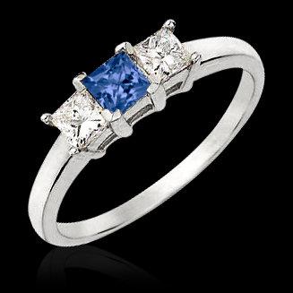 1.00 carat princess cut blue diamonds 3- stone ring new