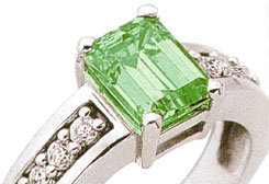 3.35 ct Emerald cut emerald & diamond anniversary ring