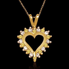 2 ct. yellow white diamonds heart style pendant locket