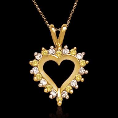 2 ct. yellow white diamonds heart style pendant locket