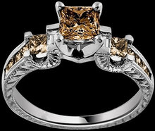 2.10 ct. Champagne princess diamonds ring 3 stone style