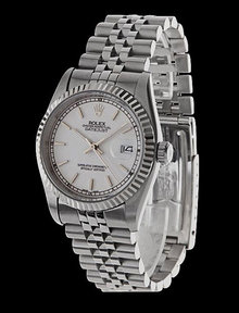 Mens datejust rolex SS white dial stick stainless steel