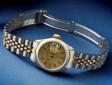 Ladies ROLEX date just watch champagne dial stick rolex