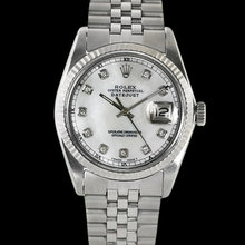 Rolex date just men's watch with diamond hour markers
