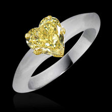 Yellow canary diamond solitaire ring heart cut 1.25 ct.