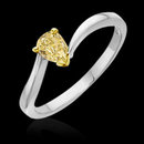 Yellow canary pear diamond 0.75 carat solitaire ring