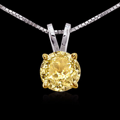 Yellow canary diamond solitaire pendant 1.01 ct. gold