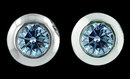 2 cts. Blue diamond stud earring white gold ear ring