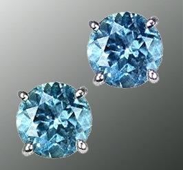 2 cts. Blue diamond stud earring white gold ear ring