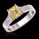 1 ct. yellow canary ring emerald cut diamond solitaire