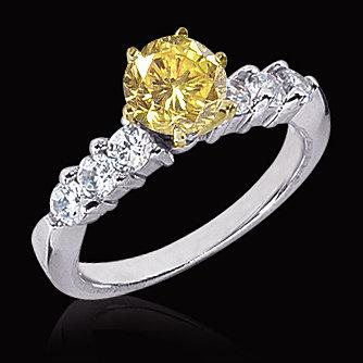 2.51 carat yellow canary & white diamonds ring 14K gold