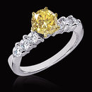 2.51 carat yellow canary & white diamonds ring 14K gold