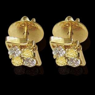 2 ct. fancy yellow diamonds screw back earrings pair