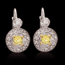 2.50 carat certified yellow canary diamonds earrings