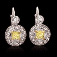 2.50 carat certified yellow canary diamonds earrings