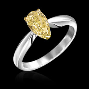 1.25 ct. yellow canary pear cut diamond solitaire ring