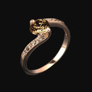Champagne diamonds 2 carat ring pink rose gold ring new