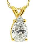 1.25 ct. pear cut diamond pendant necklace gold yellow