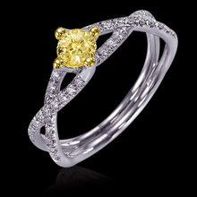 2.25 ct. Yellow & white diamonds engagement ring new